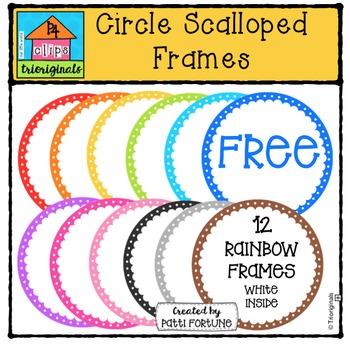 FREE Circle Scalloped Frames {P4 Clips Trioriginals Digital Clip Art}
