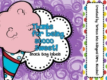 FREE - Circus Cotton Candy Snack Bag Labels