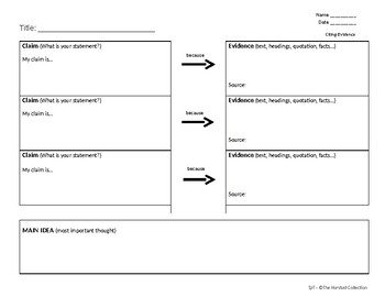 FREE   Citing Text Evidence Worksheet editable by The ...