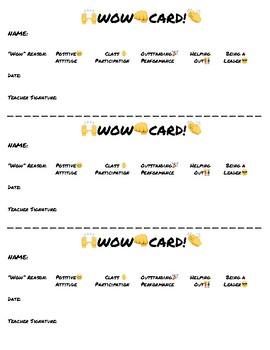 FREE! Class Rewards! WOW Card! Positive Reinforcement