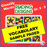 FREE ... VOCABULARY ... FREEBIE Geometric Designs Color-coded ...Gr  3,4,5
