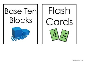 FREE 13 Manipulative Labels for Cubbies