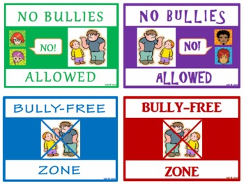 FREE!!  Classroom Mini-Posters (No Bullies Allowed / Bully-Free Zone)
