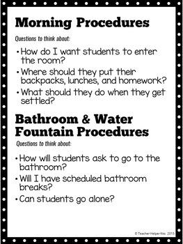 {FREE} Classroom Procedures