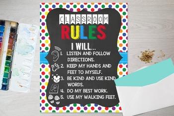 FREE Classroom Rules Poster 8x10 11x17 16x20 Chalkboard
