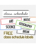 FREE Classroom Schedule Labels
