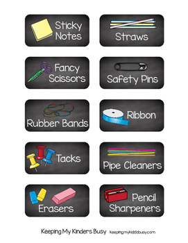 FREE Classroom Supply Labels -- CHALKBOARD -- Tags