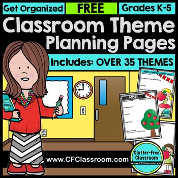 The Clutter-Free Classroom Theme Planning Pages is a FREE resource that was created to help teachers plan how they will decorate their classroom. It includes printable planners and lots of ideas.