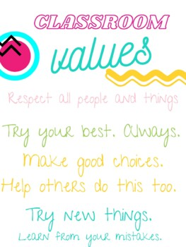 FREE Classroom Values Poster