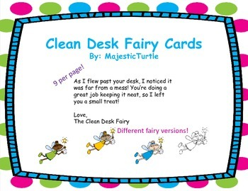 FREE Clean Desk Fairy Cards