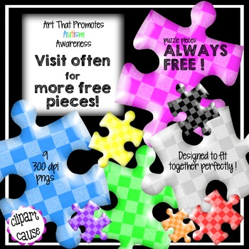FREE Clip Art: 9 Checkerboard Puzzle Piece Graphics