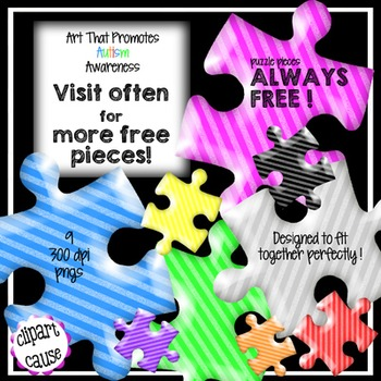 FREE Clip Art: 9 Diagonal Striped Puzzle Piece Graphics