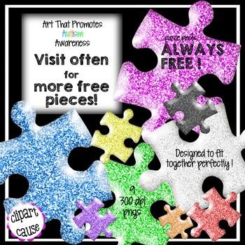 FREE Clip Art: 9 Glitter Puzzle Piece Graphics