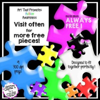 FREE Clip Art: 9 Plastic Puzzle Piece Graphics
