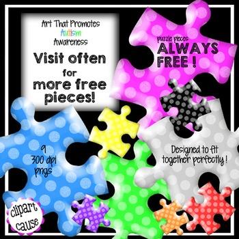 FREE Clip Art: 9 Polka Dot Puzzle Piece Graphics