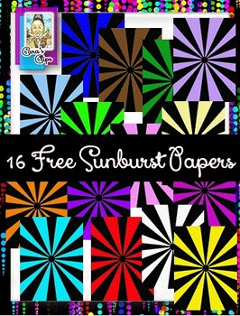 FREE Clip Art ~ Sunburst Digital Papers - 500 Fantastic Followers Celebration