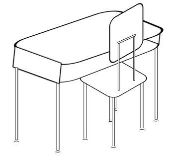 FREE!!!! Clip art of Student desk, chair, and set