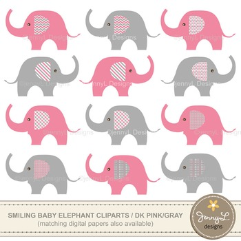 FREE Clipart: Baby Elephant clipart , Pink and Grey elephant clipart