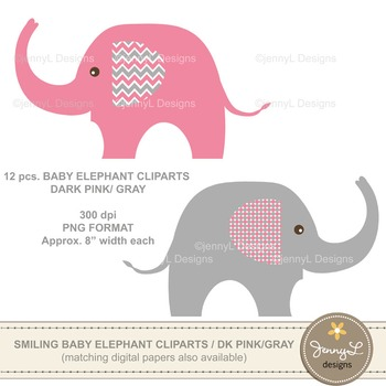FREE Clipart: Baby Elephant clipart , Pink and Grey ...