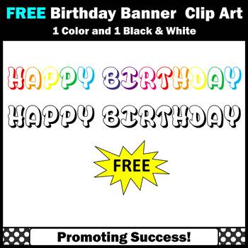 FREE Clipart, Birthday Banner, Happy Birthday Clip Art, Commercial Use SPS