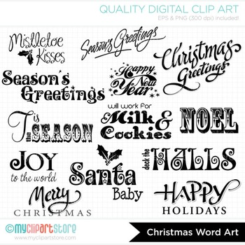 FREE Clipart - Christmas Card Word Art