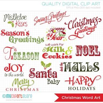 FREE Clipart - Christmas Card Word Art