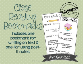 FREE Close Reading Bookmarks - Annotating Text & Post-it Note Strategy