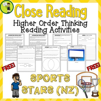 FREE Sports Stars (NZ) Close Reading Comprehension Text / Higher Order Thinking