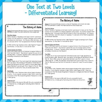FREE What is Anime? (US) Close Reading Comprehension Text Higher Order Thinking