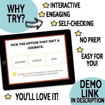 FREE Cognates DIGITAL Task Cards