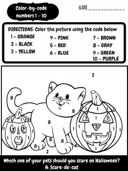 FREE Color By Code Halloween Number Sense Activity Worksheets