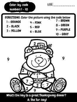 FREE Color By Code Thanksgiving Number Sense Activity Worksheets