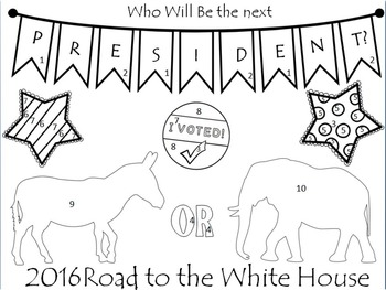 FREE Color By Number--Road to the White House NO PREP