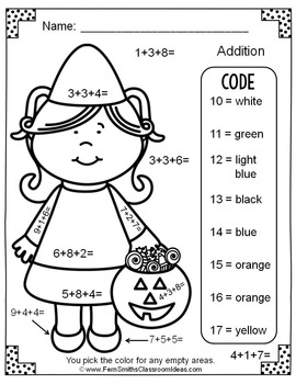 FREE Color By Numbers Halloween