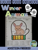 Color By Numbers Winter Math Additon for The Mitten Freebie