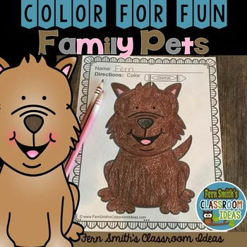 FREE Color for Fun Family Pets Dog Coloring Page