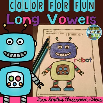 Long Vowel Coloring Page O is For Robot Color for Fun Freebie