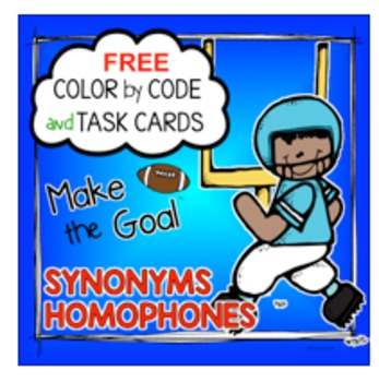 Color by Code and Task Cards - Grammar: Homophones, Synonyms