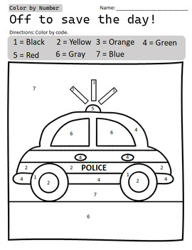 FREE Color by Number Police Car - Cars Go VROOM Preschool ...