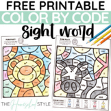 FREE Color by Sight Word Color by Code Pre-Primer and Primer Editable Animals