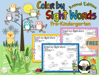 FREE Color by Sight Word Pre Kindergarten Animal Edition
