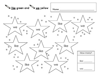 FREE Color by Sight Word - like & we