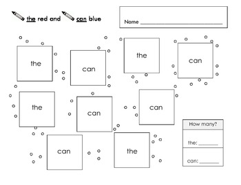 FREE Color by Sight Word - the & can