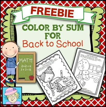 FREE!  Color by Sum for Back to School