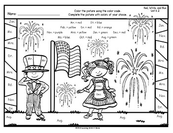 FREE Color by Word ~ Abbreviations ~ RED, WHITE, & BLUE