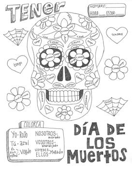 Color by conjugation Day of the Dead ~Spanish verb Tener ~No Prep calavera