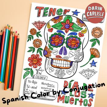 Color by conjugation Day of the dead Spanish verb Tener No prep calavera
