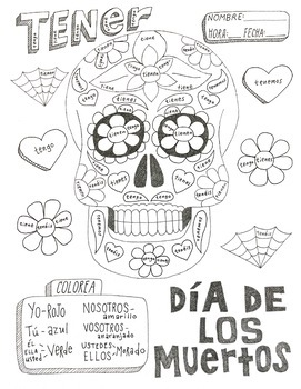 Color by conjugation Day of the dead Spanish verb Tener ...