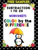 Color by the Difference – Subtraction Worksheets CCSSMATHCONTENT2OAB2  FREE