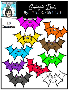 (FREE) Colorful Bats Clip Art Set